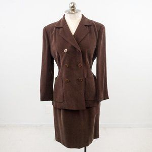 Vintage 90s M Sueded Silk Skirt Power Suit Brown